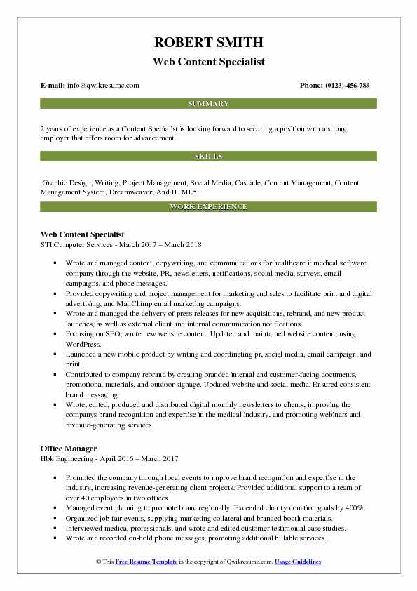 content specialist resume samples
