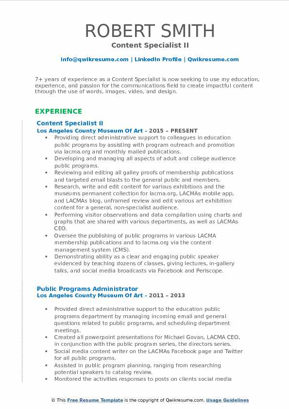 Content Specialist II Resume Sample