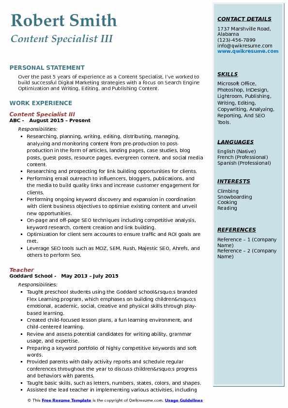 Content Specialist III Resume Model