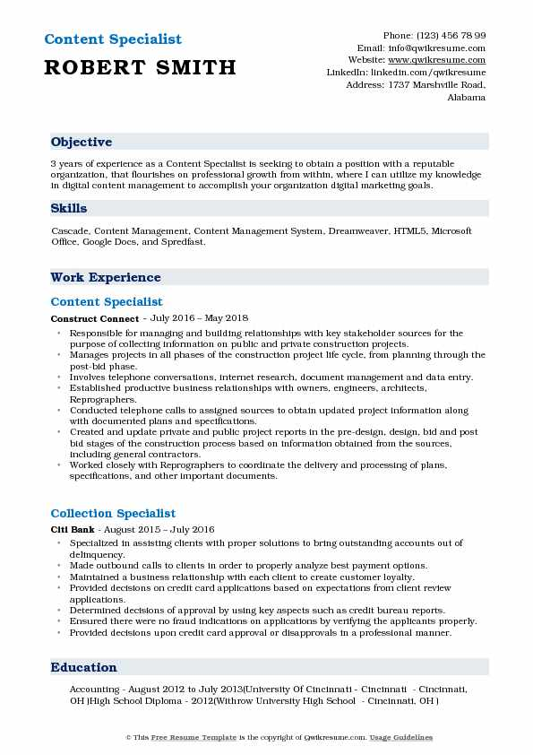 Content Specialist Resume Model