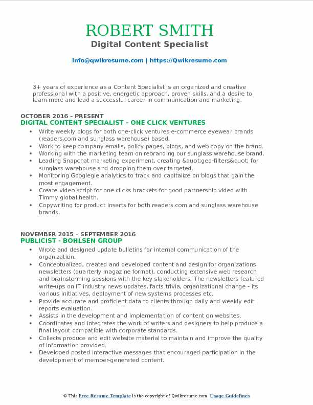 Digital Content Specialist Resume Template