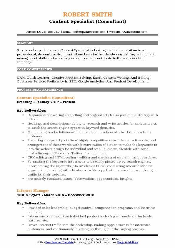 Content Specialist (Consultant) Resume Sample