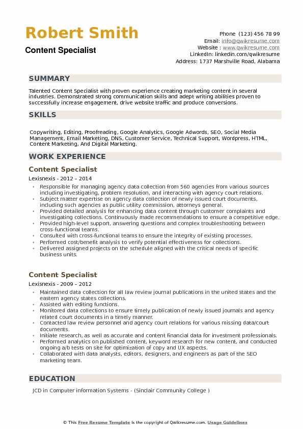 Content Specialist Resume Samples Qwikresume