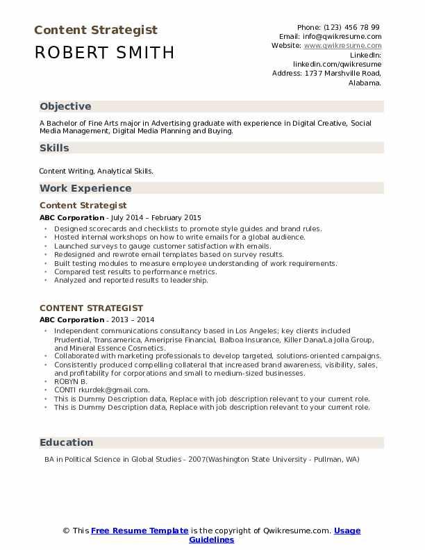 Content Strategist Resume example