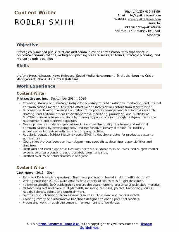 content writer resume samples  qwikresume
