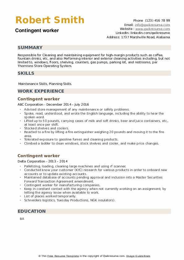 Contingent worker Resume example