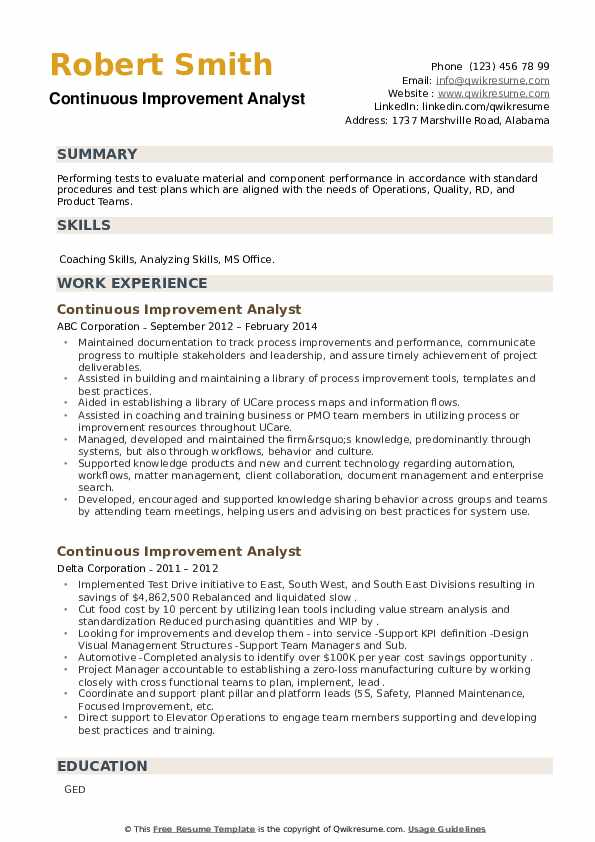 Continuous Improvement Analyst Resume example