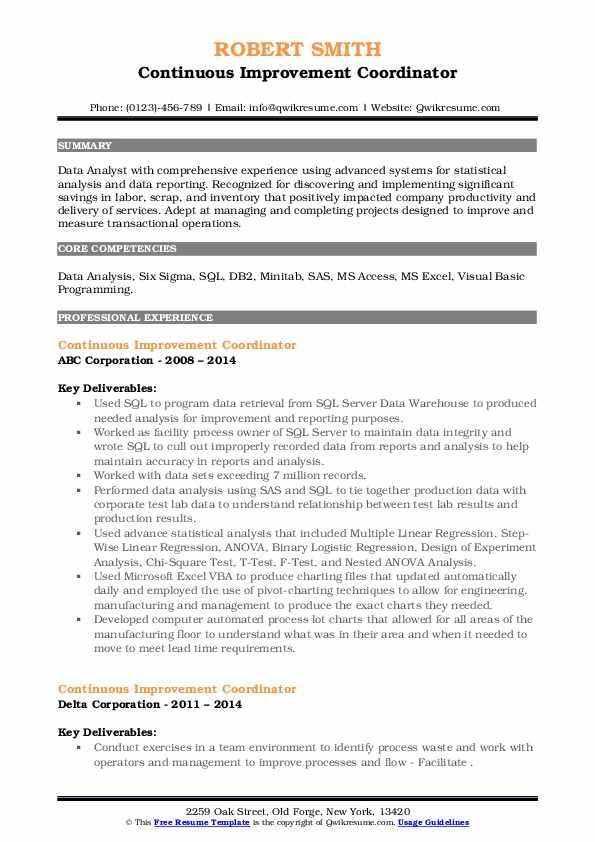 Continuous Improvement Coordinator Resume example