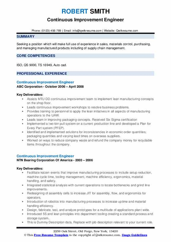 continuous improvement engineer resume samples