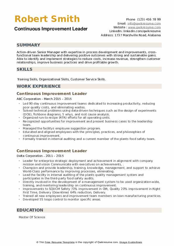 Continuous Improvement Leader Resume example