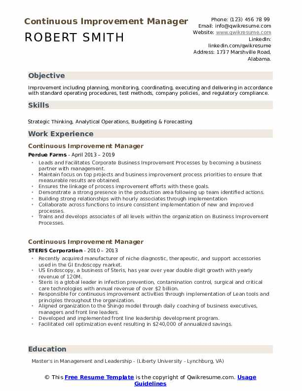 Continuous Improvement Manager Resume Model