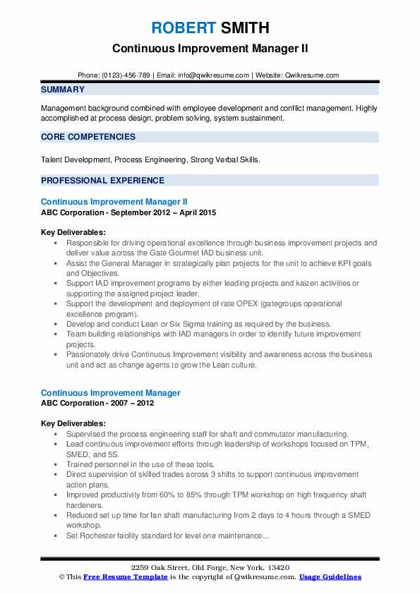 Continuous Improvement Manager II Resume Sample