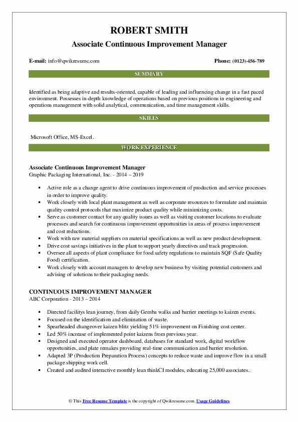 Associate Continuous Improvement Manager Resume Format