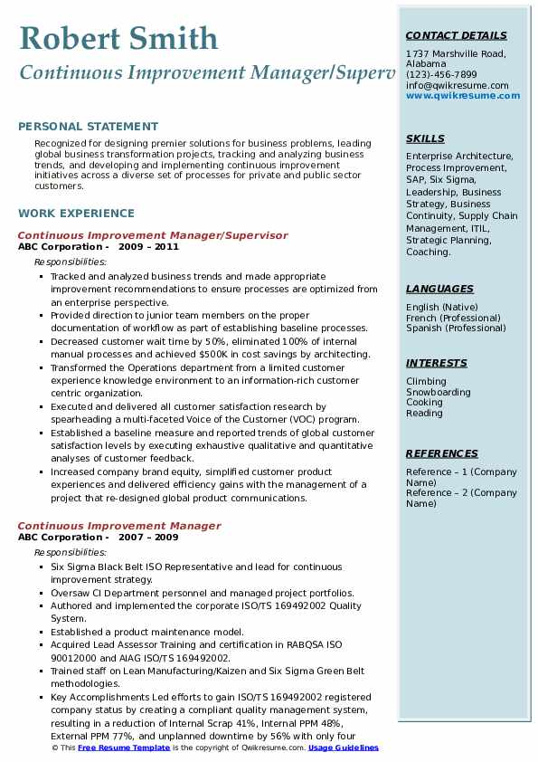 Continuous Improvement Manager/Supervisor Resume Sample