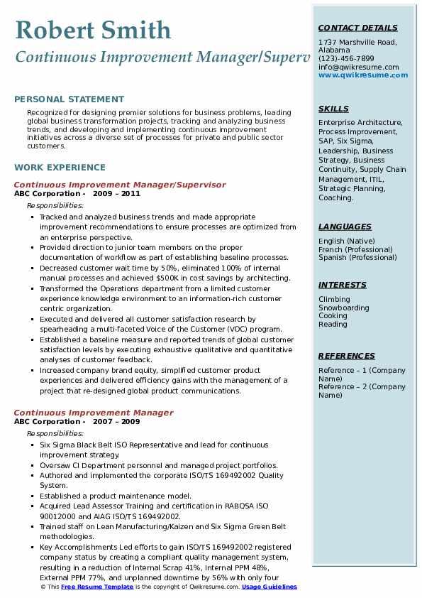 Continuous Improvement Manager Job Description - JobHero