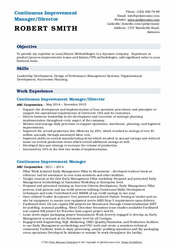 Continuous Improvement Manager/Director Resume Template