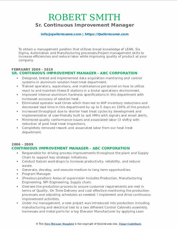 Sr. Continuous Improvement Manager Resume Template