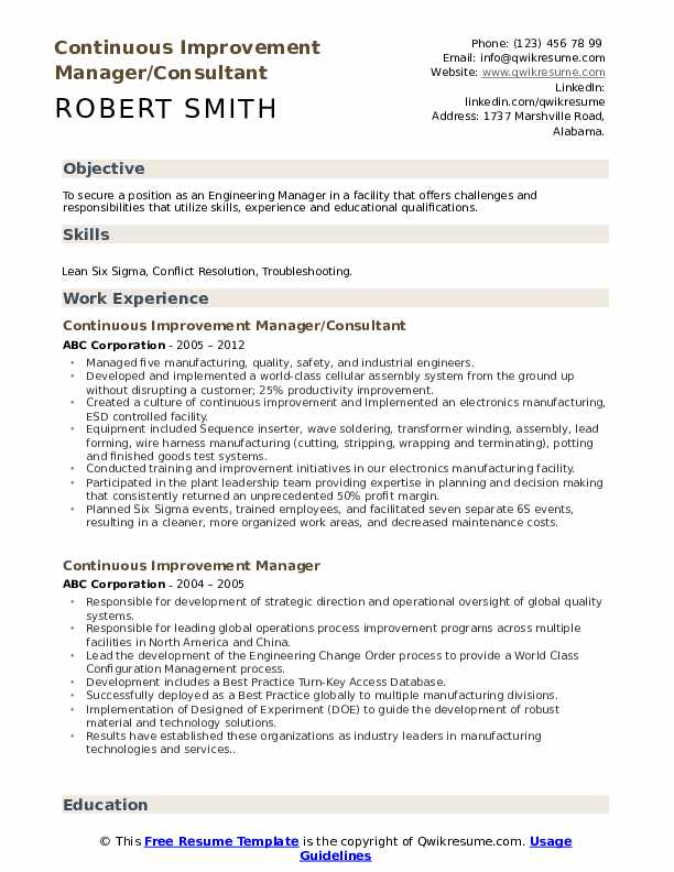 Continuous Improvement Manager/Consultant Resume Model