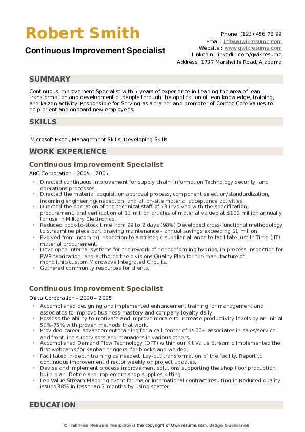 Continuous Improvement Specialist Resume example