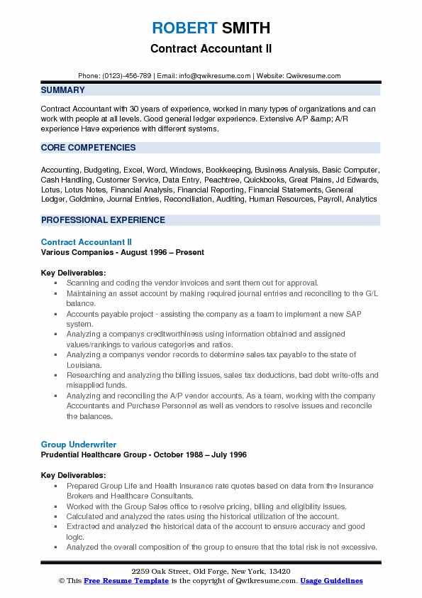 Contract Accountant II Resume Format