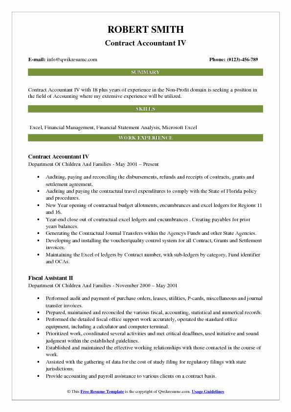 Contract Accountant IV Resume Example