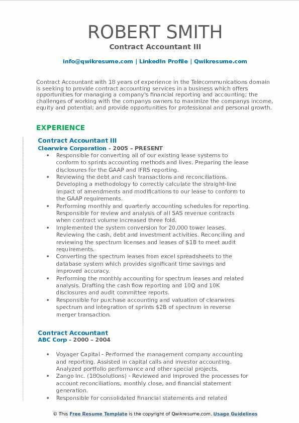Contract Accountant III Resume Example