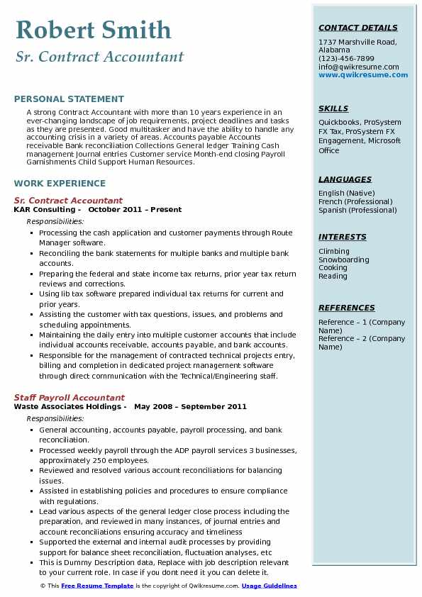 Sr. Contract Accountant Resume Format