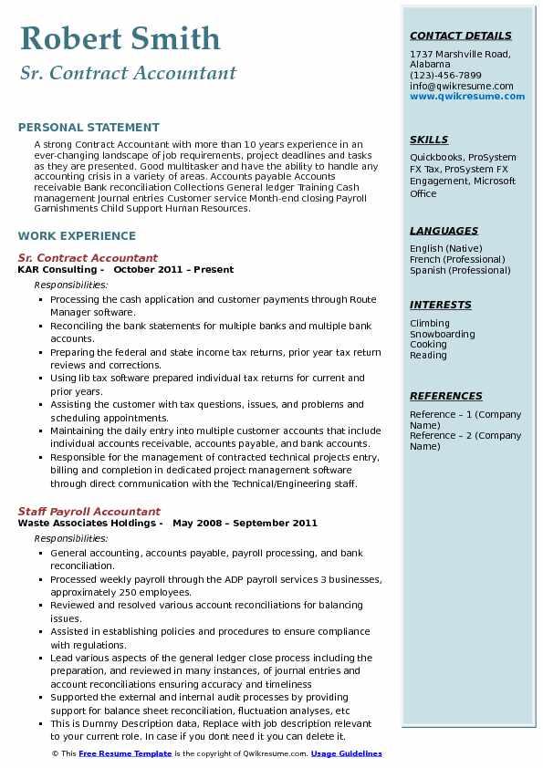 Sr. Contract Accountant Resume Sample