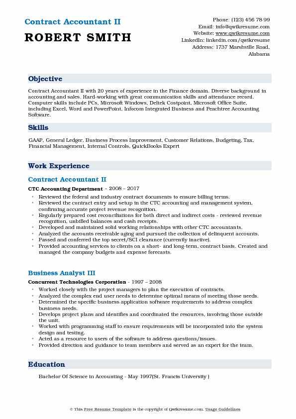 Contract Accountant II Resume Sample