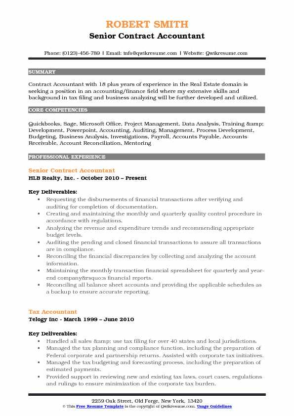 senior contract accountant resume sample