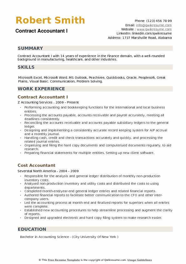 Contract Accountant Resume Samples | QwikResume