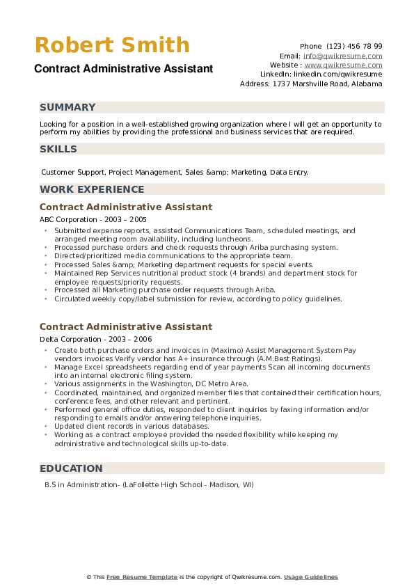 Contract Administrative Assistant Resume example