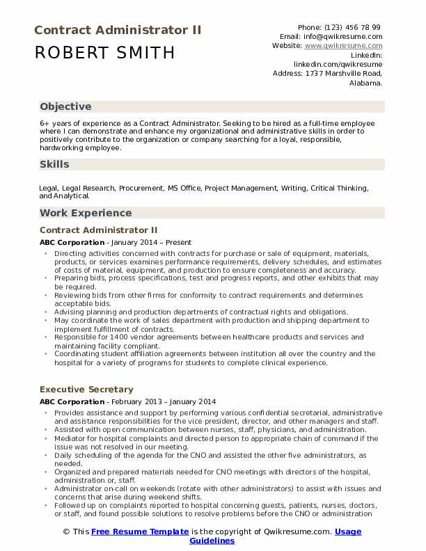 Contract Administrator II Resume Sample