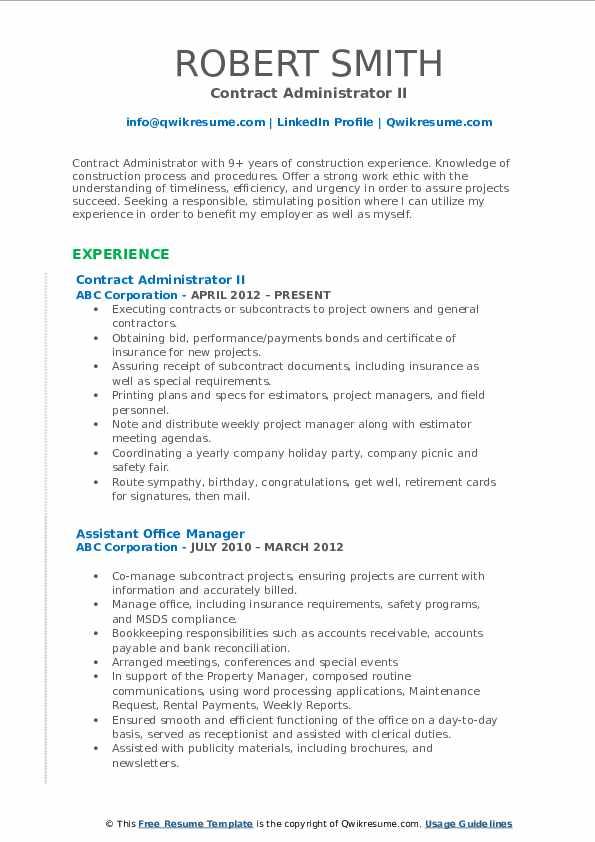 Contract Administrator II Resume Example