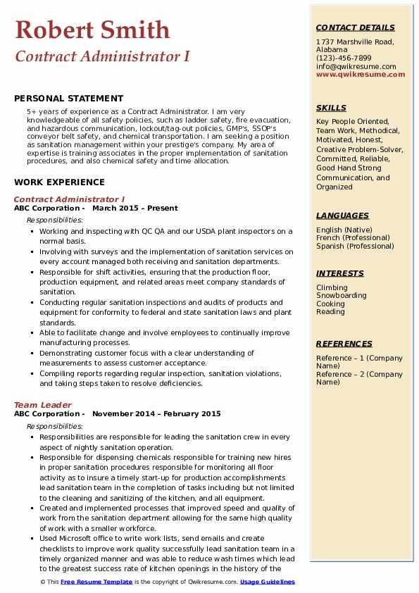 Contract Administrator I Resume Template