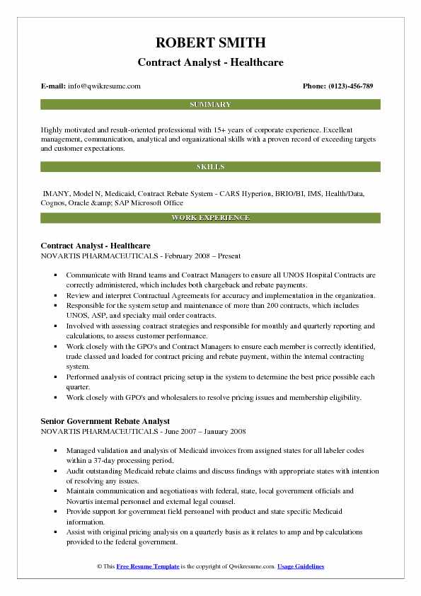 Contract Analyst - Healthcare Resume Template