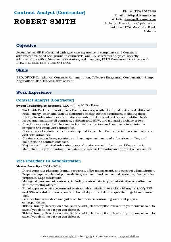 Contract Analyst (Contractor) Resume Format