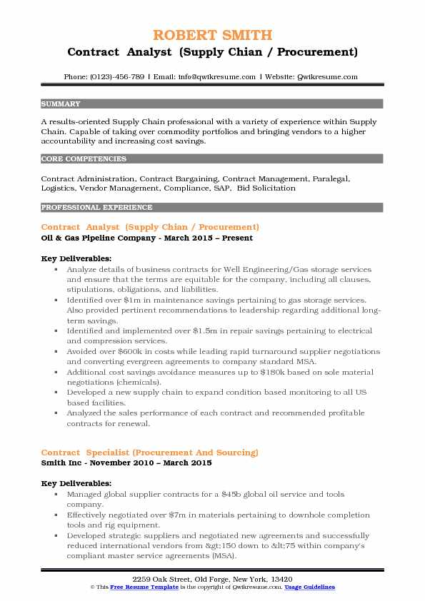 Contract Analyst (Supply Chian / Procurement) Resume Sample  Supply Chain Resume Sample