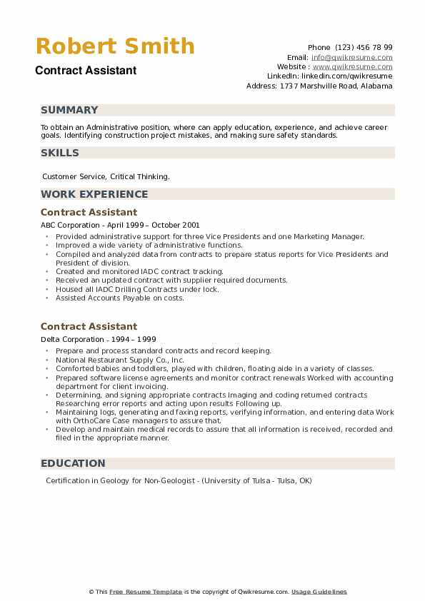 Contract Assistant Resume example