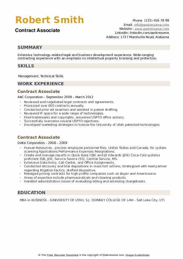Contract Associate Resume example