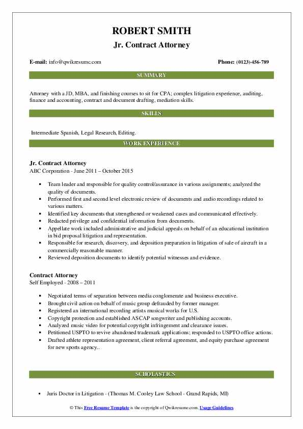 Jr. Contract Attorney Resume Example