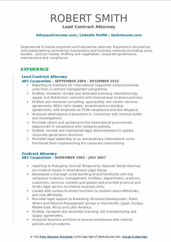 Lead Contract Attorney Resume Sample