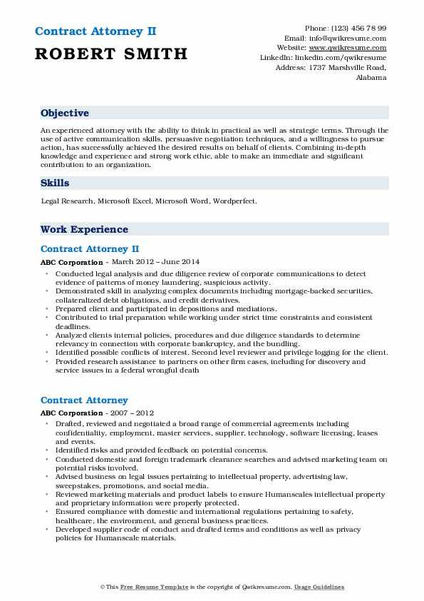 Contract Attorney II Resume Template