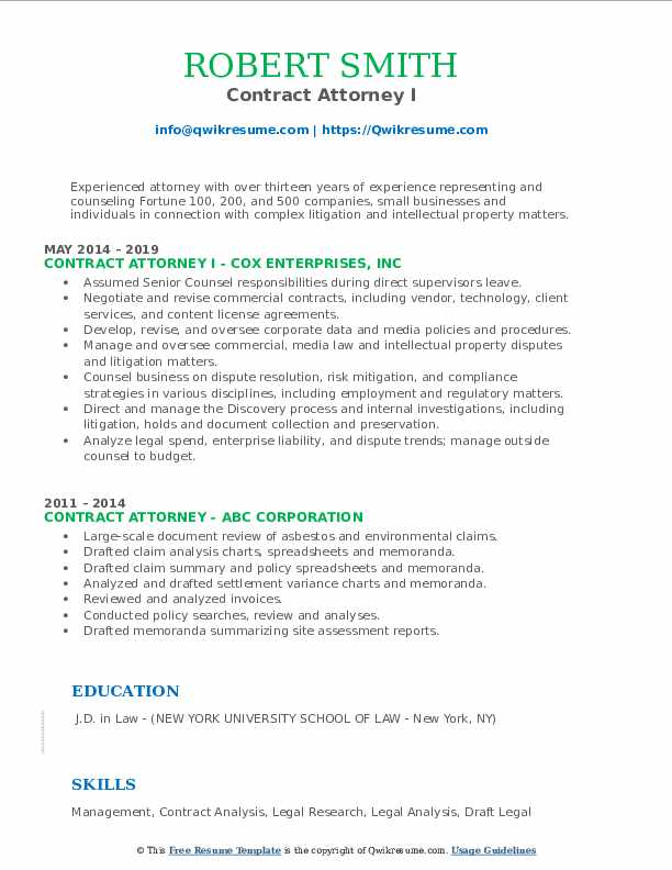 Contract Attorney I Resume Model