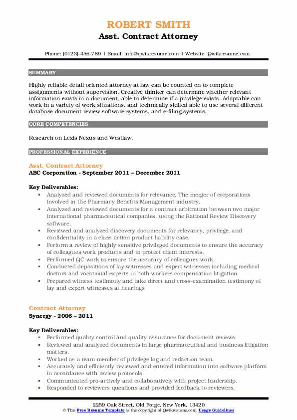 Asst. Contract Attorney Resume Model