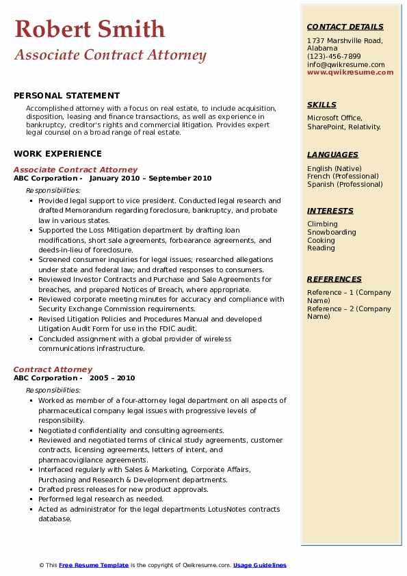 Associate Contract Attorney Resume Template