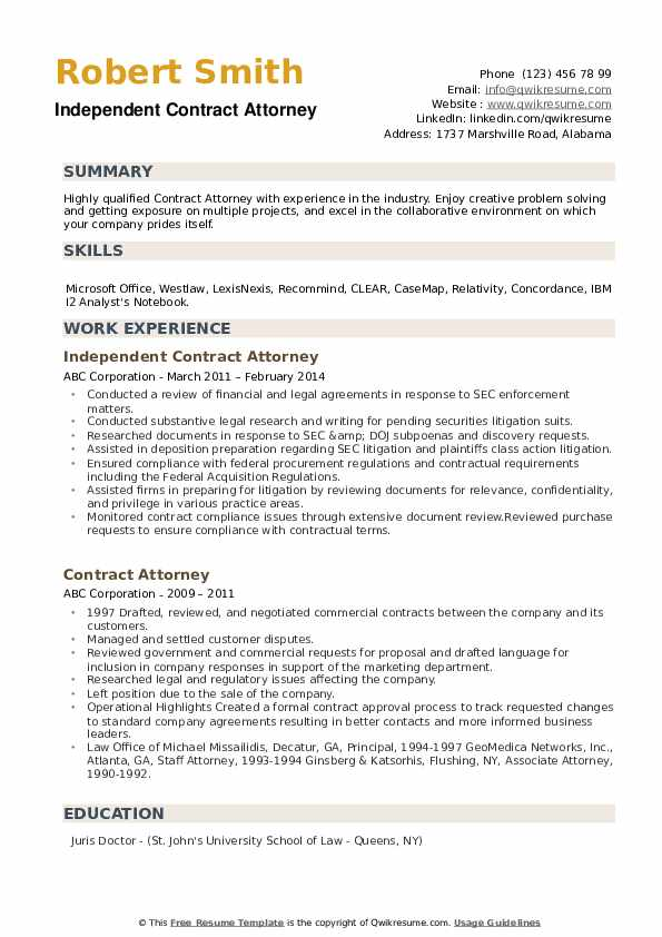Independent Contract Attorney Resume Example