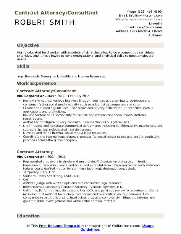 Contract Attorney/Consultant Resume Template