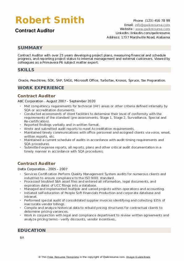 Contract Auditor Resume example