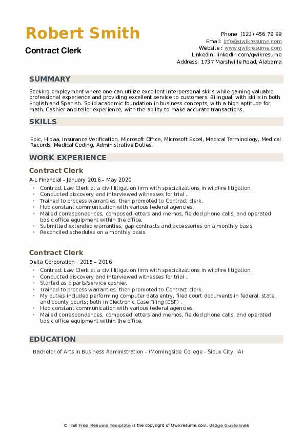 Contract Clerk Resume example